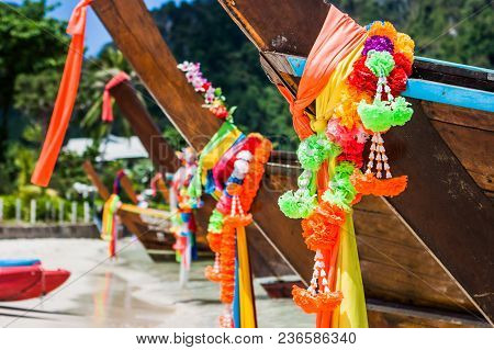 Colorful Decorations On The Bows Of Some Traditional Longtail Boats In Phi Phi Island, Thailand.