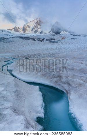Glacier Du Tour In French Alps. Mont Blanc Massif