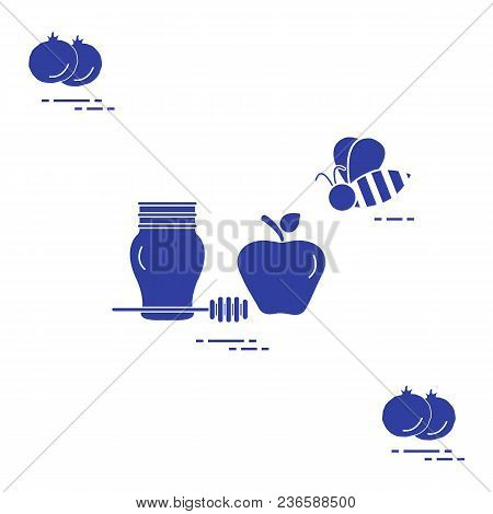 Apple In Honey In Rosh Hashanah, Pomegranate, Bee. Traditional Jewish Food And Symbols. Design For P