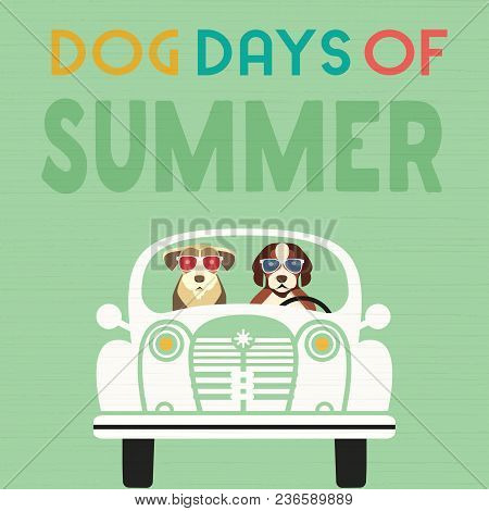 Time For Adventure. Cute Comic Cartoon. Colorful Humor Retro Style. Dogs Go By Retro Car To Beach Fu