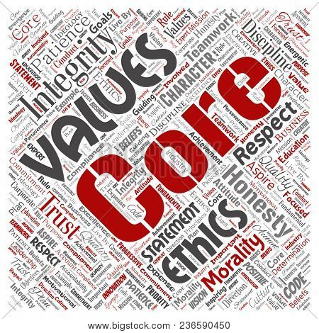 Conceptual core values integrity ethics square red concept word cloud isolated background. Collage of honesty quality trust, statement, character, perseverance, respect and trustworthy