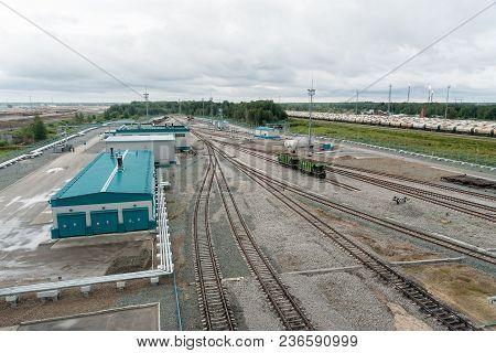 Tobolsk, Russia - July 15. 2016: Sibur Company. Denisovka Railway Station Of Petrochemical Plant