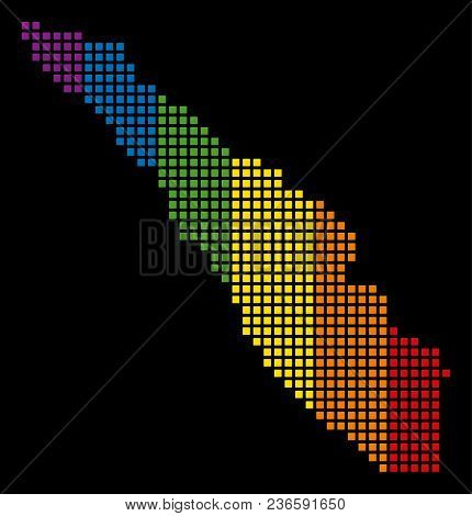 Rainbow Vector Abstract Mosaic Of Sumatra Island Map Constructed Of Rounded Square Pixels. Vector Ho