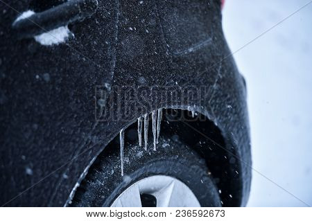 Vehicle Covered In Ice During Freezing Rain