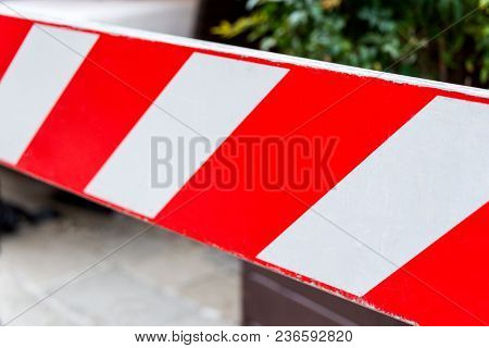 Red And White Non-entry Barrier. Restricted Area