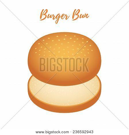 Vector 3d Realistic Illustration Of Burger Bun. Hamburger Bread, Bakery Product, Cheeseburger With S