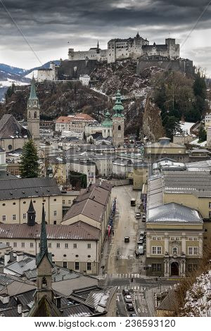 Historical City Salzburg With Fortress Hohensalzburg In The Winter