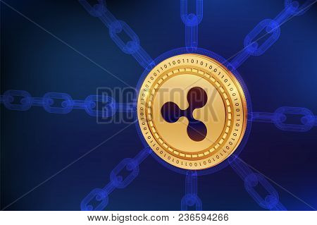 Ripple. Crypto Currency. Block Chain. 3d Isometric Physical Ripple Coin With Wireframe Chain. Blockc