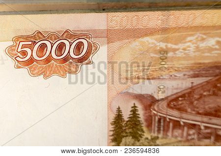 Bill Of Five Thousand Russian Rubles Close-up