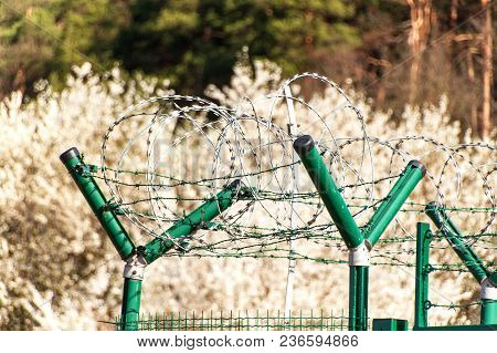 Fence With Razor Barbed Wire. Guarded Area. Military Base. Razor Wire