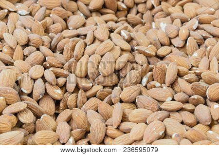 Pile Of Organic Dried Almond Bulk Sale At Local Market In America