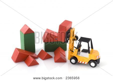 Fork-Lift Truck At Toys Construction Place