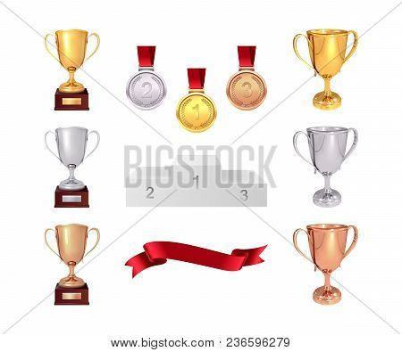 A Set Of Trophies Of The Winner. Golden, Silver And Bronze Cups, Gold Medal, Red Ribbon And Pjadesta