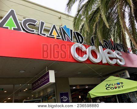Melbourne, Australia: April 10, 2018: View Of Coles Supermarket In Acland Street St Kilda.