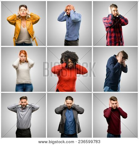 Group of mixed people, women and men covering ears ignoring annoying loud noise, plugs ears to avoid hearing sound. Noisy music is a problem.