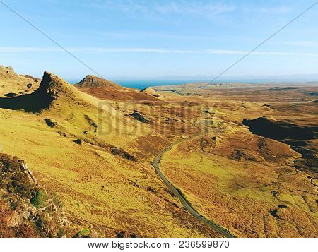 Quiraing Mountains In Winter Midday. Hilly Landscape Of Isle Of Skye, Scottish Highlands. Breathtaki