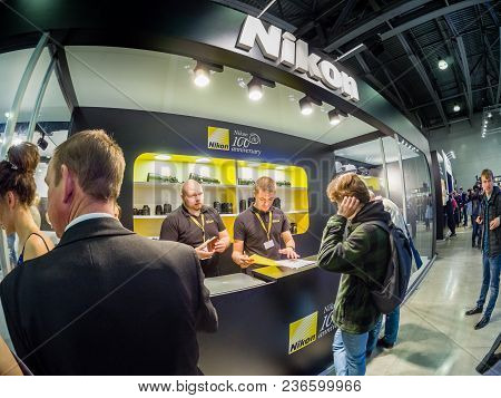 Moscow, Russia - April 13, 2018: Booth Of Nikon Company At Photoforum 2018 Trade Show And Exhibition