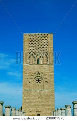 Hassan Tower, Front Of The Mausoleum Of Mohammed V In Rabat, Morocco.