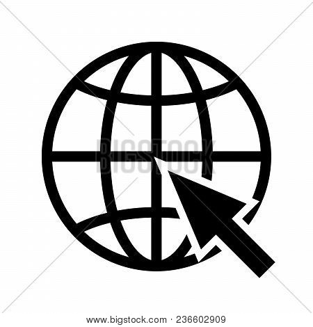 The Cursor Arrow Is Pointing To The Planet Symbol. Vector Illustration