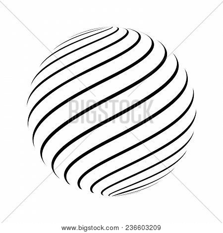 Abstract Striped Spheres For Your Design. Vector Illustration