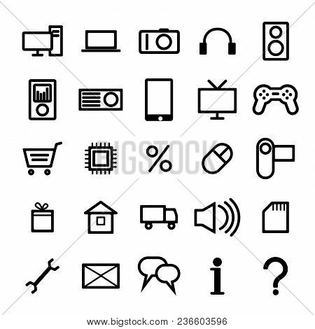 A Set Of Icons For An Online Store Of Computer Technology And Electronics