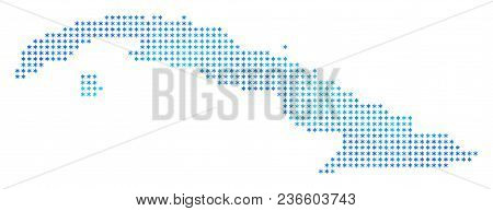 Frozen Cuba Map. Vector Geographic Map In Blue Frost Colors. Vector Concept Of Cuba Map Combined Of