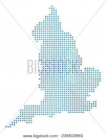 Winter England Map. Vector Geographic Map In Blue Frosty Colors. Vector Mosaic Of England Map Organi