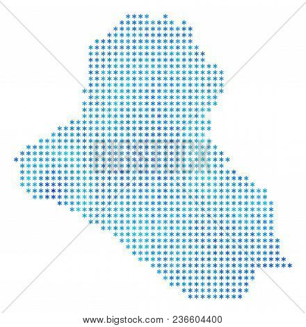 Icy Iraq Map. Vector Geographic Map In Blue Frost Colors. Vector Concept Of Iraq Map Combined Of Sno
