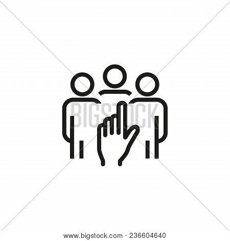 Line Icon Of Hand Choosing Candidate. Hr Manager, Hiring, Human Resources. Hr Management Concept. Fo
