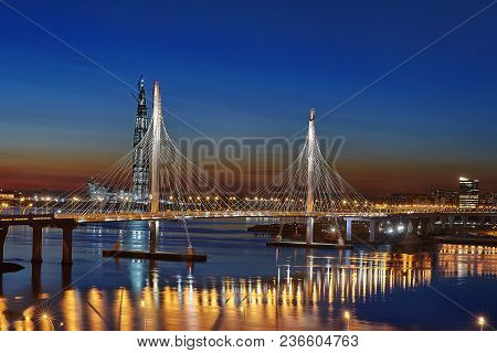 St. Petersburg, Russia - April 13, 2018: Aerial View On Highway With Cable-stayed Bridge Across Neva
