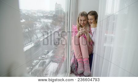 Friendship Bff. Young Teenage Mates Fun Leisure. Girl Hugging. Love Closeness And Bonding. Best Frie