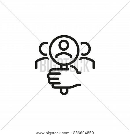 Line Icon Of Hand Holding Magnifying Glass And Researching Group Of People. Customer Discovery, Hiri