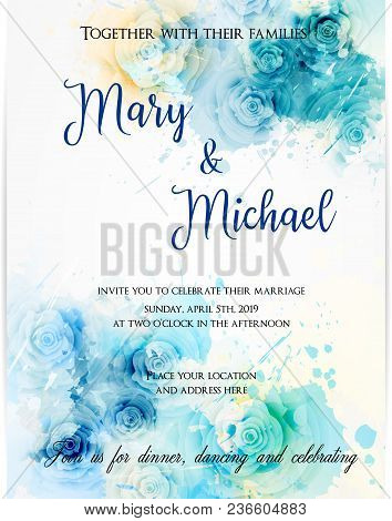 Invitation Wedding Template  Background With Watercolored Abstract Roses. Blue Colored. Abstract Bac