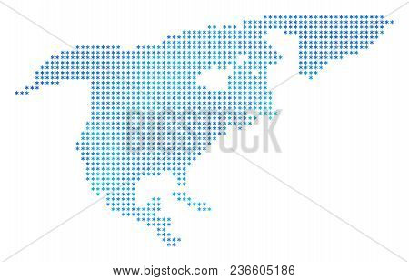 Winter North America Map. Vector Geographic Map In Blue Frosty Colors. Vector Concept Of North Ameri