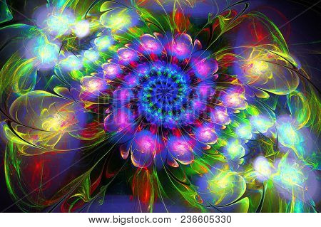 Abstract Fractal Futuristic Colourful Pattern. 3d Render Of A Fractal. Art Fantasy Pattern. Digital