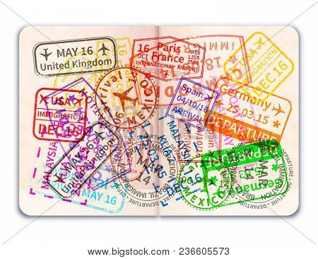Realistic Open Foreign Passport With Many Bright Colorful Immigration Stamps Isolated On White
