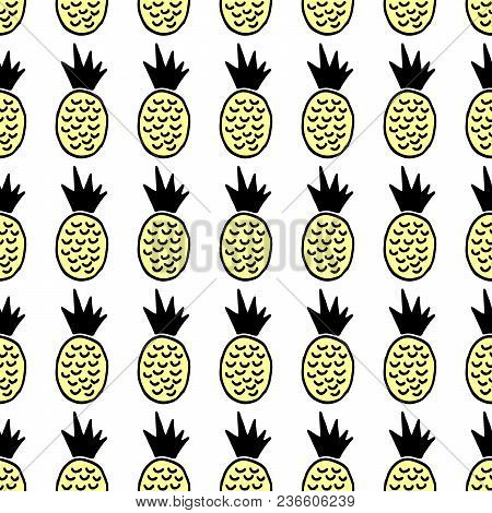 Cute Cartoon Summer Print With Hand Drawn Pineapples. Sweet Vector Colorful Summer Print. Seamless D
