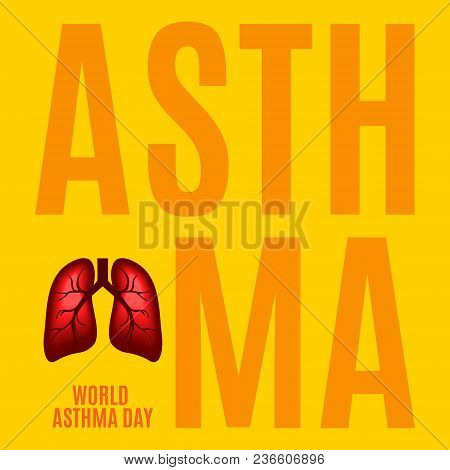 Asthma Awareness Poster With Lungs On Yellow Background. Bronchial Disease Symbol. Medical Template