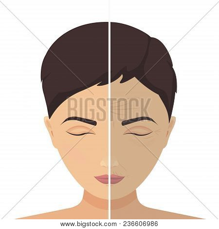 Close Up Vector Portrait Of A Woman Before And After Cosmetic Procedure. Beauty Facial Injections. A