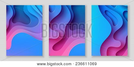 Vertical A4 Banners With 3d Abstract Background With Blue And Pink Paper Cut Waves And Background. V