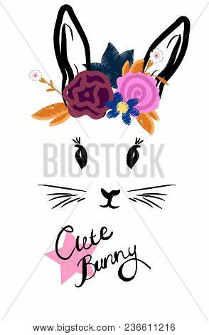 Cute Rabbit With Bow Face With Wreath On Head. Postcard Illustration Or T-shirt Print