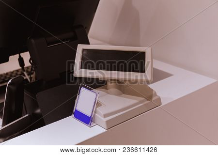 Cash Desk With Screen And Card Payment Terminal In Mall. Cash Machine
