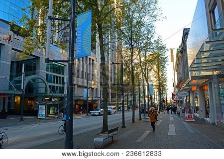 Vancouver - Nov 13, 2014: Modern Buildings On Granville Street Between Dunsmuir Street And Pender St