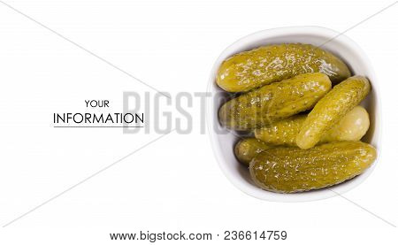 Salted Cucumbers Pickle In Bowl Pattern On A White Background Isolation, Top View