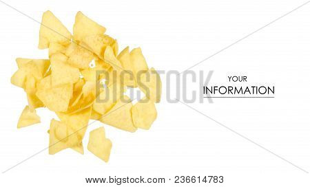 Chips Snack Potato Pattern On White Background Isolation, Top View