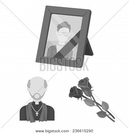 Funeral Ceremony Monochrome Icons In Set Collection For Design. Funerals And Attributes Vector Symbo