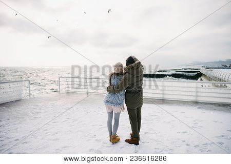 Back View Of Young Couple Embracing On Winter Quay And Looking At The Sea