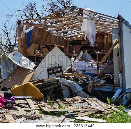 A House Destroyed By The Powerful Hurricane Harvey On The Texas Coast