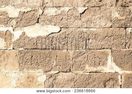 Texture Of Old Cracked Brick Wall, Masonry Of Stone Blocks