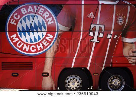 Frankfurt, Germany - April 07: The Coat Of Arms Of The Football Club Fc Bayern Munich On The Team Bu